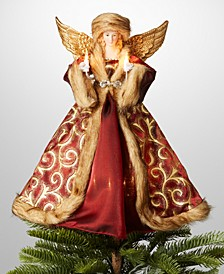 "14"" Porcelain & Polyester Angel in Red Dress & Hat Christmas Tree Topper with LED Lights, Created for Macy's"