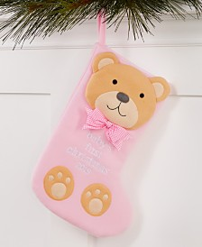 Holiday Lane Baby's First Pink Teddy Bear Stocking Ornament, Created for Macy's