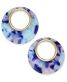 Gold-Tone Colored Tortoise-Look Open Circle Drop Earrings