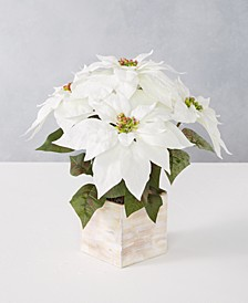 Martha Stewart Silver Woods Artificial Potted White Poinsettia, Created for Macy's