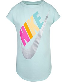 Nike Little Girls Metallic Futura Logo Cotton T-Shirt