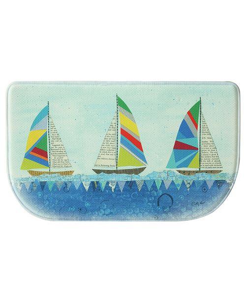 "Bacova Rainbow Sailboats 18""x30"" Memory Foam Slice Rug"