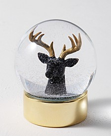 Midnight Blue Reindeer Head Snowglobe, Created for Macy's