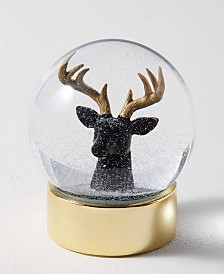 Holiday Lane Midnight Blue Reindeer Head Snowglobe, Created for Macy's