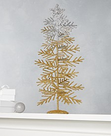 Midnight Blue Silver & Gold Glitter Tree, Created for Macy's