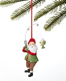 Holiday Lane Lodge Santa Fishing Ornament, Created for Macy's