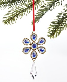 Holiday Lane Midnight Blue Snowflake Faux Crystal Drop Ornament, Created For Macy's
