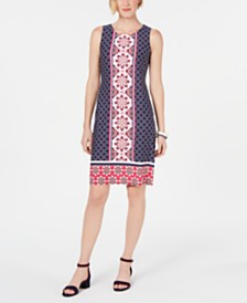 Charter Club Mosaic-Printed Shift Dress, Created For Macy's
