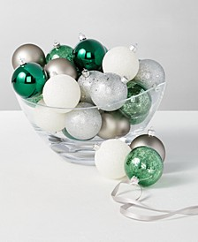 The Holiday Collection Set of 30 Shatterproof Green, Silver and White Ornaments, Created for Macy's