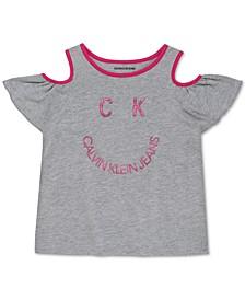 Big Girls Smile-Print Cold-Shoulder T-Shirt