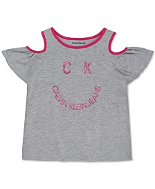 Calvin Klein Big Girls Smile-Print Cold-Shoulder T-Shirt