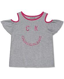 Calvin Klein Big Girls Smile-Print Cold-Shoulder T-Shirt