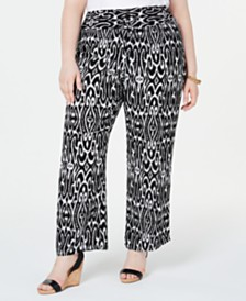 I.N.C. Plus Size Printed Pull-On Pants, Created for Macy's