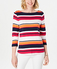 Petite Cotton Striped Boat-Neck Top, Created for Macy's
