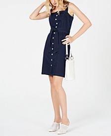 INC Sleeveless Button-Front Jean Dress, Created for Macy's