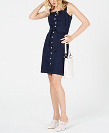 I.N.C. Sleeveless Button-Front Jean Dress, Created for Macy's