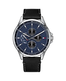 Mens Black Leather Strap Watch 44mm, Created for Macys