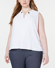 Calvin Klein  Plus Size Embellished Textured Top