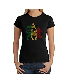 Women's Word Art T-Shirt - Rasta Lion - One Love