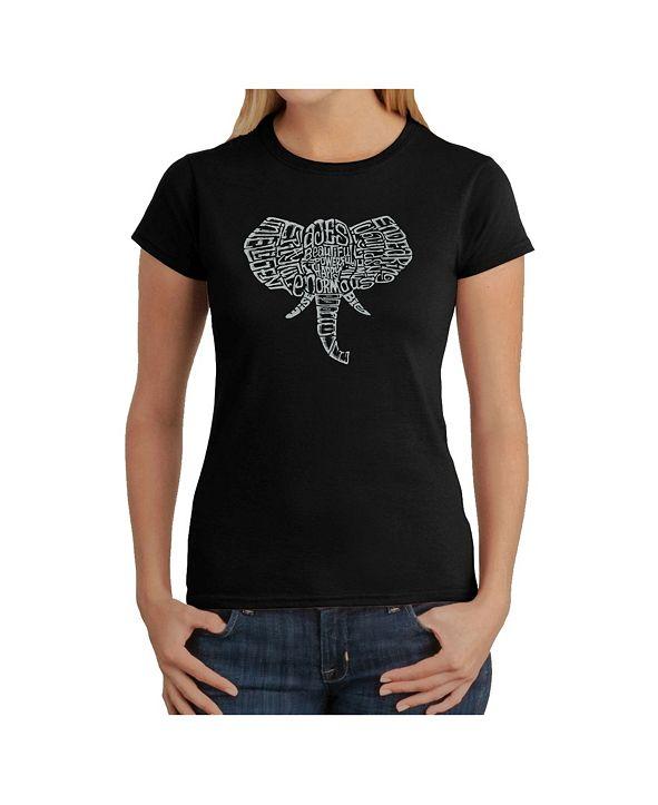 LA Pop Art Women's Word Art T-Shirt - Elephant Tusks