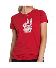 Women's Premium Word Art T-Shirt - Peace Fingers