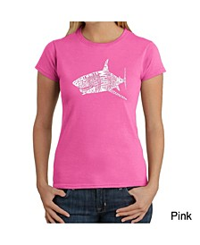 Women's Word Art T-Shirt - Species of Sharks