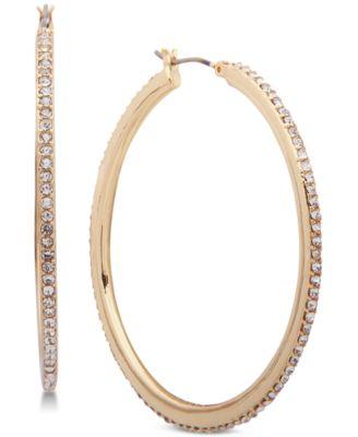 Gold-Tone Crystal Pavé Medium Medium Hoop Earrings
