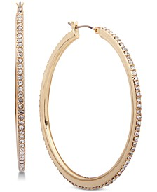 Gold-Tone Crystal Pavé Medium Medium Hoop Earrings