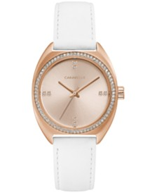 Caravelle Designed by Bulova Women's Crystal White Leather Strap Watch 32mm