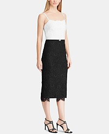 Lauren Ralph Lauren Colorblocked Lace Cocktail Dress