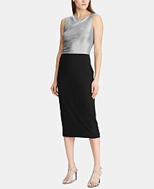 Lauren Ralph Lauren Shimmer-Bodice Crepe Dress
