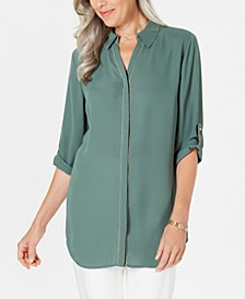 Caviar-Trim Button-Up Top, Created for Macy's