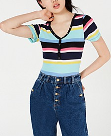Juniors' Striped V-Neck Top