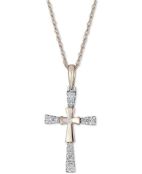 """Macy's Diamond Cross 18"""" Pendant Necklace (1/10 ct. t.w.) in 14k Gold"""