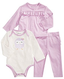 First Impressions Baby Girl Purple Owl Separates, Created for Macy's