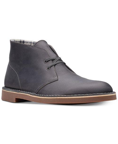 Clarks Men's Bushacre 2 Aubergine Leather Chukka Boots