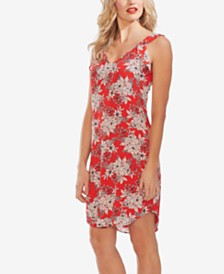 Vince Camuto Floral-Print Ruffle-Shoulder Dress
