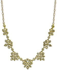 """Giani Bernini Cubic Zirconia Floral Statement Necklace in 18k Gold-Plated Sterling Silver, 16"""" + 2"""" extender, Created for Macy's"""