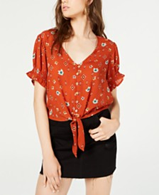 Self Esteem Juniors' Printed Tie-Front Cropped Blouse