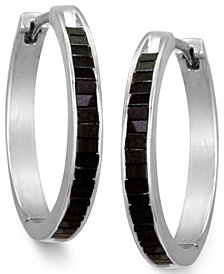 Sterling Silver Earrings, Black Diamond Baguette Hoop Earrings (1 ct. t.w.)