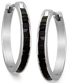 Sterling Silver Earrings, Black Diamond Baguette Hoop Earrings (1 ct. t.w.)