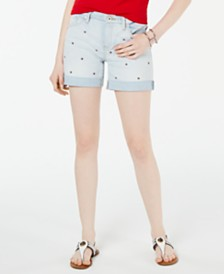 Tommy Hilfiger Logo-Embroidered Cuffed Shorts, Created For Macy's