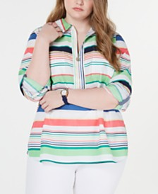 Tommy Hilfiger Plus Size Sardinia Cotton Striped Popover Top, Created for Macy's