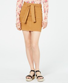 Tinseltown Juniors' Front-Pocket Belted Skirt