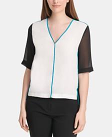 DKNY Colorblocked Sheer-Sleeve Top
