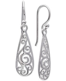 Giani Bernini Filigree Teardrop Drop Earrings in Sterling Silver, Created for Macy's