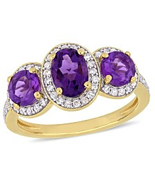 Amethyst (1-5/8 ct.t.w.) and Diamond (1/3 ct.t.w.) 3-Stone Halo Ring in 18k Yellow Gold over Sterling Silver
