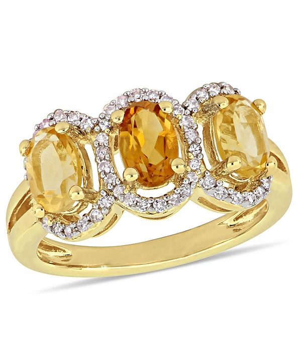 Delmar Citrine (1-1/3 ct.t.w.) and Diamond (1/5 ct.t.w.) 3-Stone Halo Ring in 18k Yellow Gold over Sterling Silver