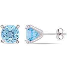 Gemstone and Diamond Accent Stud Earrings in 10k White Gold. Available in  Garnet (4 ct.t.w.), Blue Topaz (4-3/4 ct.t.w.), Citrine (3 5/8 ct.t.w), & Prasiolite (3 1/2 ct.t.w.)