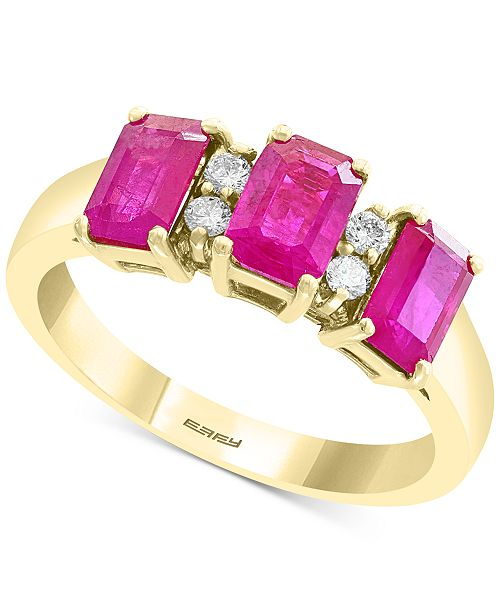 EFFY Collection EFFY® Ruby (2 ct. t.w.) & Diamond (1/10 ct. t.w.) Ring in 14k Gold
